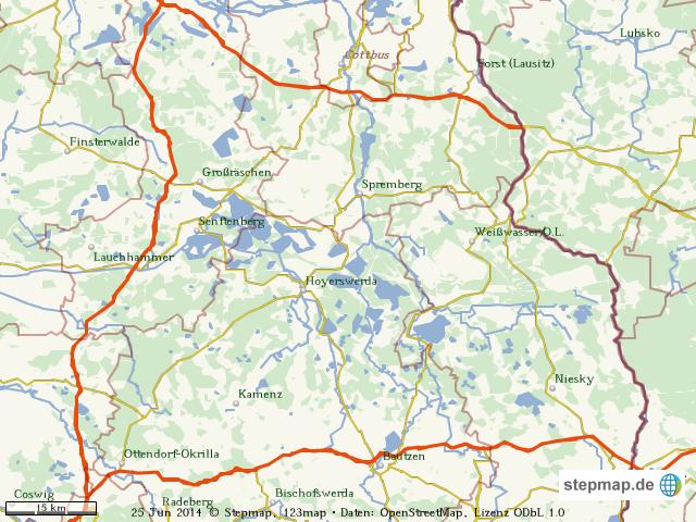 Lausitz Karte.Stepmap Regionalkarte Lausitz Landkarte Fur Welt