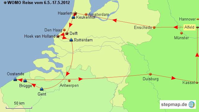 Karte Von Holland Und Belgien.Stepmap Reise Holland Belgien 5 2012 Landkarte Fur