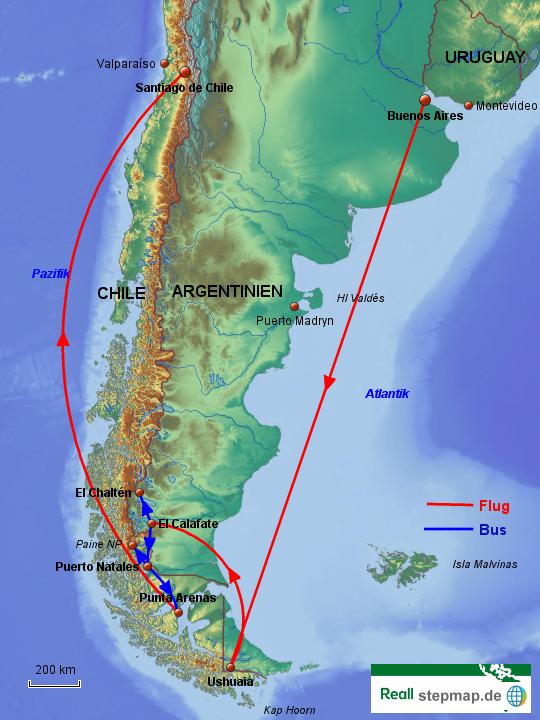 Patagonien Highlights Karte.Stepmap Reise Patagonien Und Feuerland Landkarte Für Argentinien