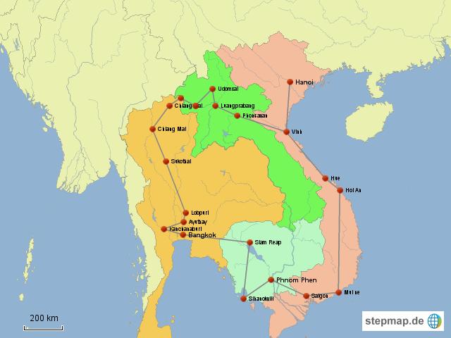 Karte Thailand Kambodscha.Stepmap Reise Durch N Thailand Laos Vietnam Und Kambodscha