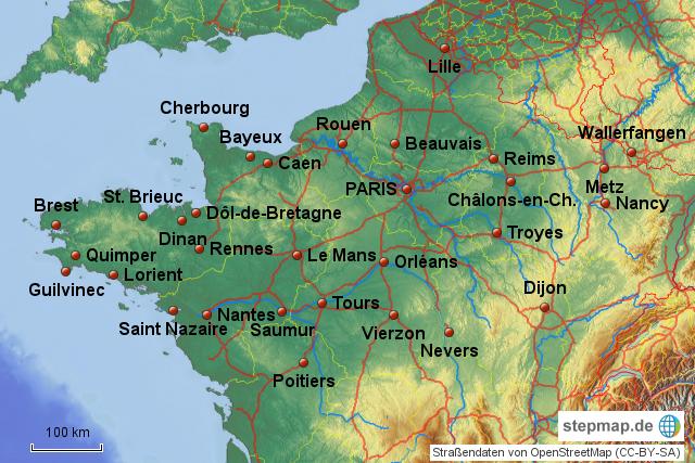 landkarte bretagne StepMap   Reise in die Bretagne   Landkarte für Deutschland landkarte bretagne