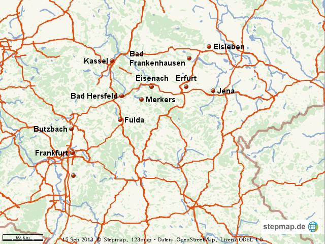 Karte Kassel Und Umgebung.Stepmap Reise Nach Erfurt Und Umgebung Landkarte Für Welt
