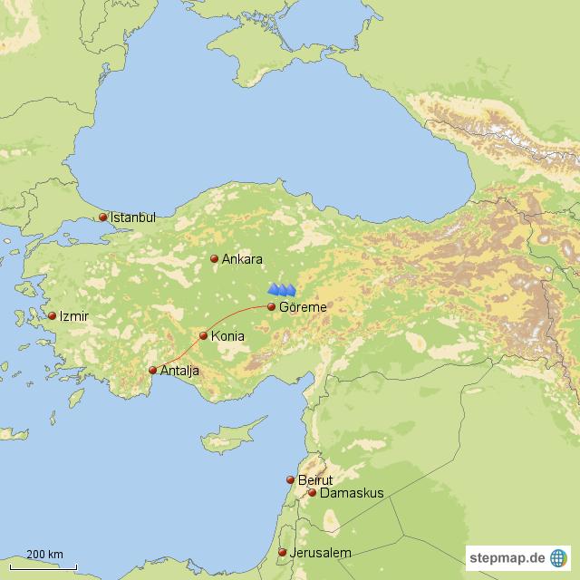 stepmap reise nach kappadokien landkarte f r t rkei. Black Bedroom Furniture Sets. Home Design Ideas