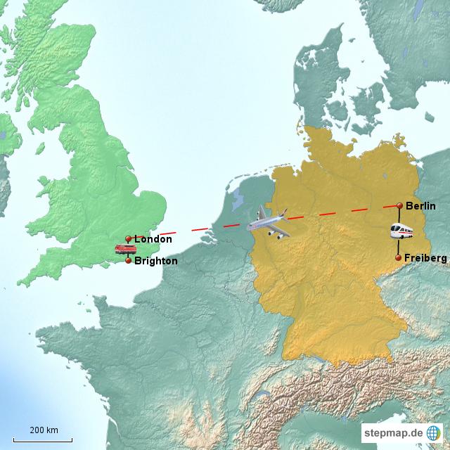 deutschland england karte StepMap   Reise von Deutschland (Freiberg) nach England (Brighton