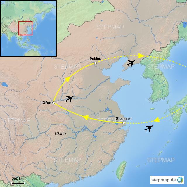 Chinesische Mauer Karte.Stepmap Reiseroute China Landkarte Für China