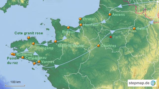 Nordfrankreich Karte.Stepmap Reiseroute Nordfrankreich Landkarte Für Deutschland