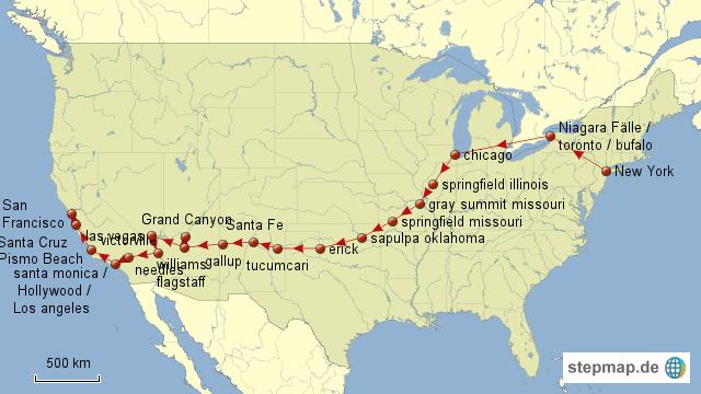 stepmap reiseroute route 66 landkarte f r nordamerika. Black Bedroom Furniture Sets. Home Design Ideas