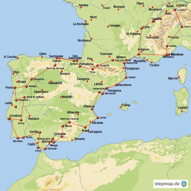 karte portugal spanien StepMap   Reiseroute Spanien Portugal   Landkarte für Europa karte portugal spanien