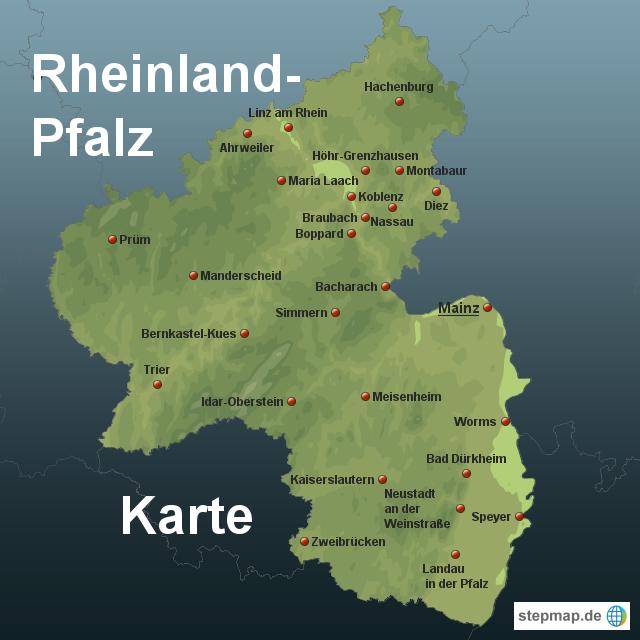 landkarte pfalz StepMap   Rheinland Pfalz Karte   Landkarte für Deutschland landkarte pfalz