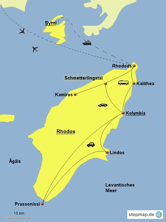 Karte Rhodos Urlaub.Stepmap Rhodos Landkarte Für Deutschland