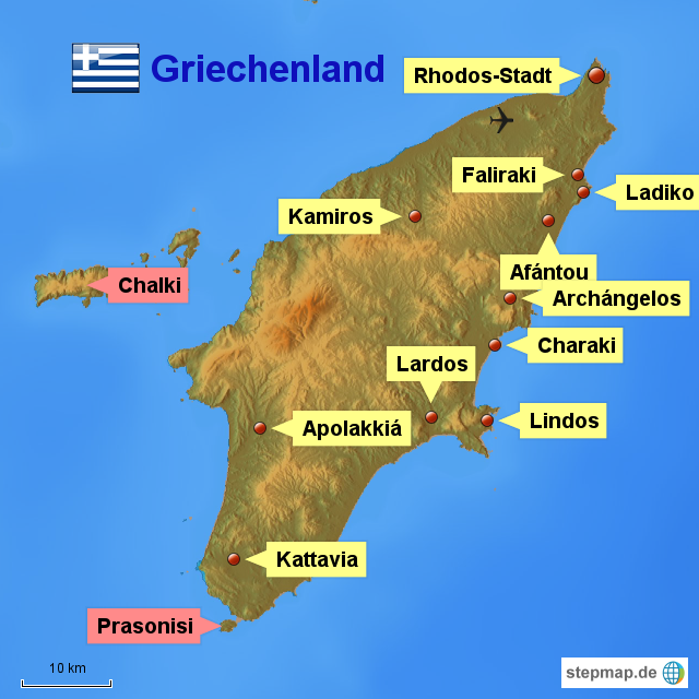 Rhodos Karte.Stepmap Rhodos Landkarte Für Griechenland