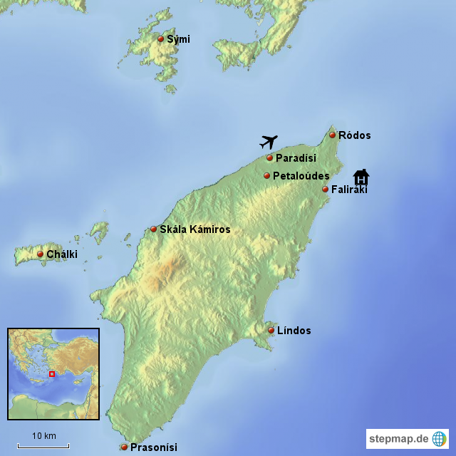 Karte Rhodos Urlaub.Stepmap Rhodos Landkarte Für Griechenland