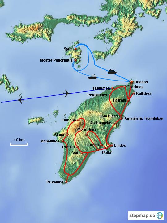 Rhodos Karte Flughafen.Stepmap Rhodos 2012 Landkarte Für Deutschland