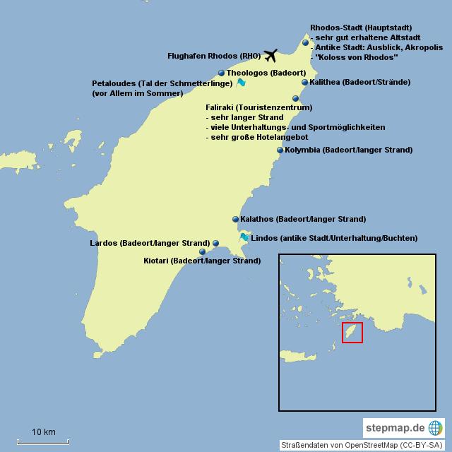 Rhodos Karte Flughafen.Stepmap Rhodos Tourismus Landkarte Für Griechenland