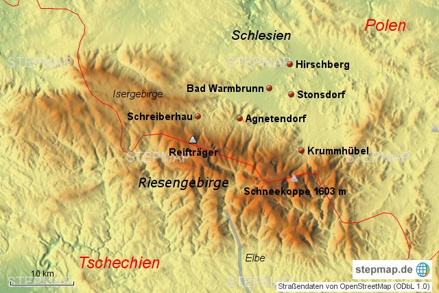 riesengebirge karte StepMap   Riesengebirge groß   Landkarte für Polen
