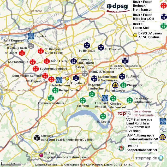 Stadt Essen Karte.Stepmap Ringverbande In Essen 10 2012 Landkarte Fur Welt