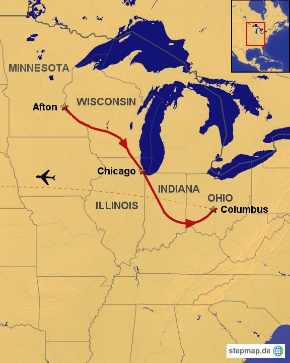 StepMap - Road Trip No.1 - Landkarte für USA