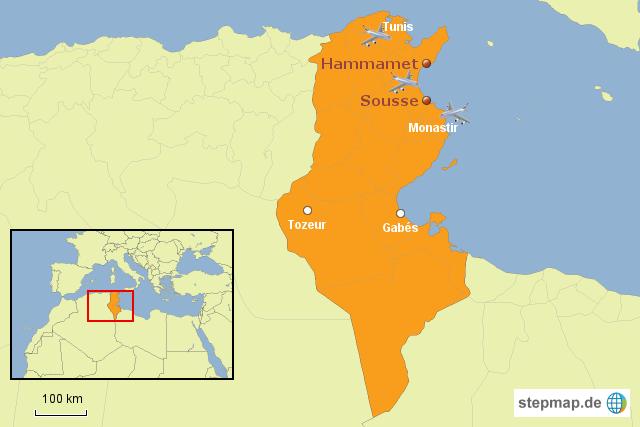 stepmap rollstuhlgerechter urlaub in tunesien landkarte f r afrika. Black Bedroom Furniture Sets. Home Design Ideas