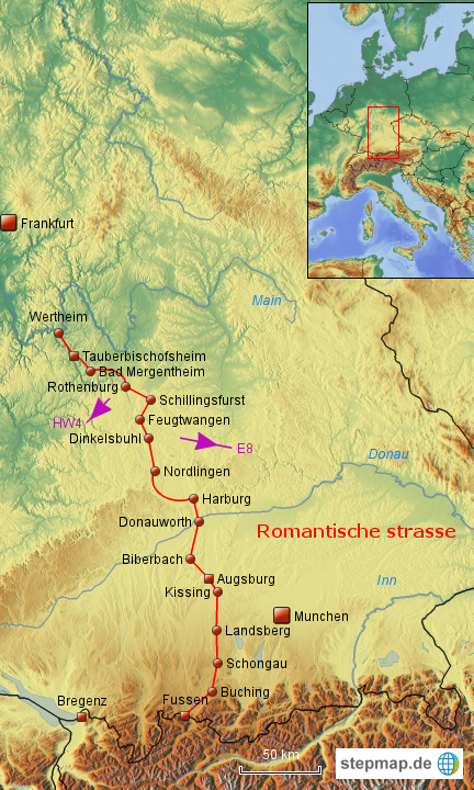Romantische Straße Karte.Stepmap Romantische Strasse Landkarte Für Deutschland