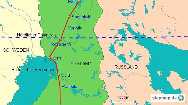 polarkreis karte StepMap   Route Mittelfinnland, Polarkreis   Landkarte für Europa polarkreis karte