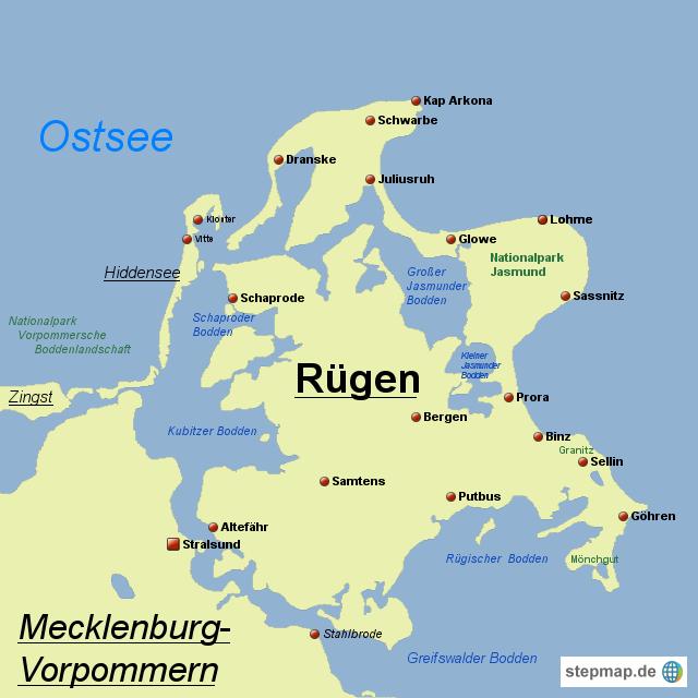 Karte Rügen.Stepmap Rügen Landkarte Für Deutschland