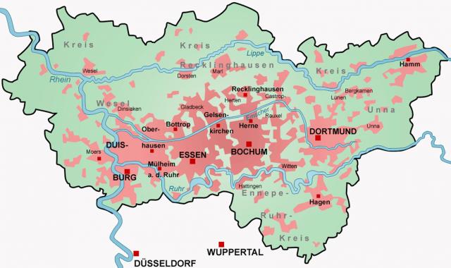 Karte Ruhrgebiet.Stepmap Ruhrgebiet Karte Wiki Landkarte Für Deutschland