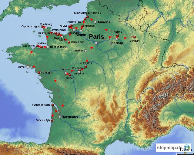 Nordfrankreich Karte.Stepmap Rundereise Nordfrankreich Landkarte Für Frankreich