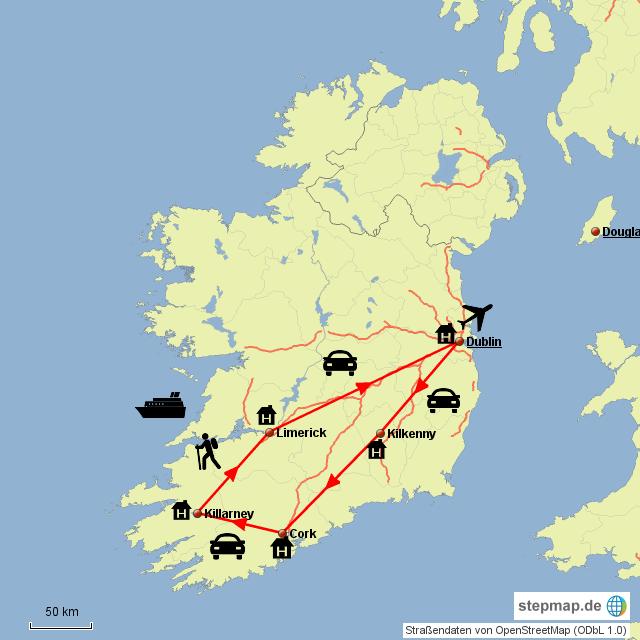 Irland Karte Rundreise.Stepmap Rundreise Irland Landkarte Fur Irland