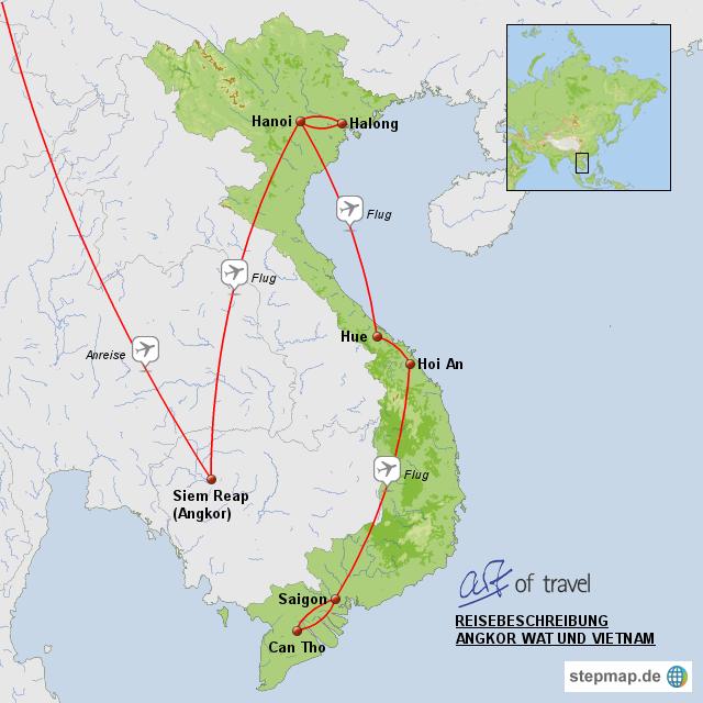 Angkor Wat Karte.Stepmap Rundreise Kambodscha Und Vietnam Angkor Wat Und Vietnam