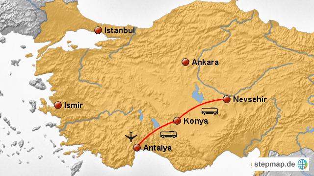 Karte Türkei Kappadokien.Stepmap Rundreise Kappadokien Landkarte Für Türkei