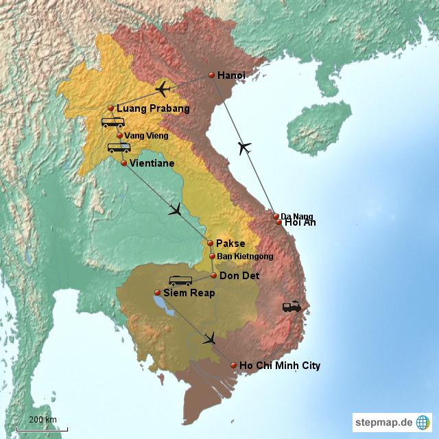 rundreise laos kambodscha vietnam von annerl landkarte. Black Bedroom Furniture Sets. Home Design Ideas