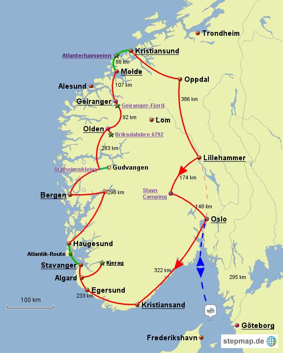 Karte Südnorwegen.Stepmap Rundreise Norwegen Landkarte Für Norwegen