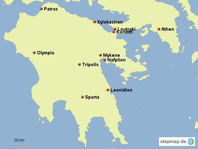 Peloponnes Karte.Stepmap Rundreise Peloponnes Landkarte Für Deutschland