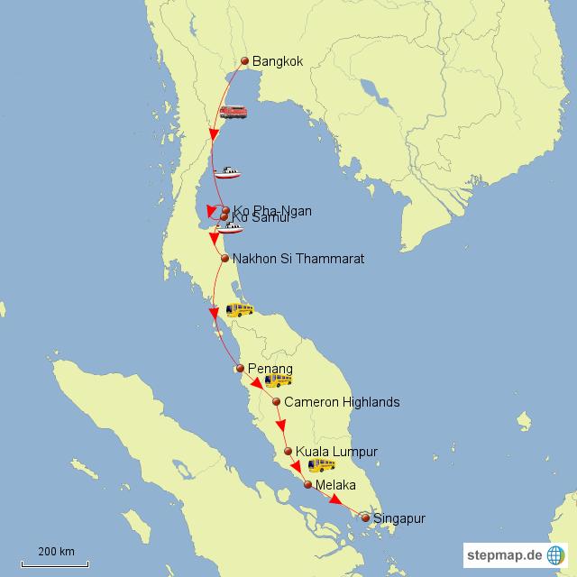 StepMap - Rundreise Südostasien - Landkarte für Asien
