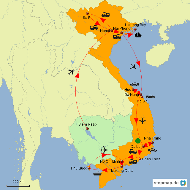 stepmap rundreise vietnam kambodscha landkarte f r asien. Black Bedroom Furniture Sets. Home Design Ideas