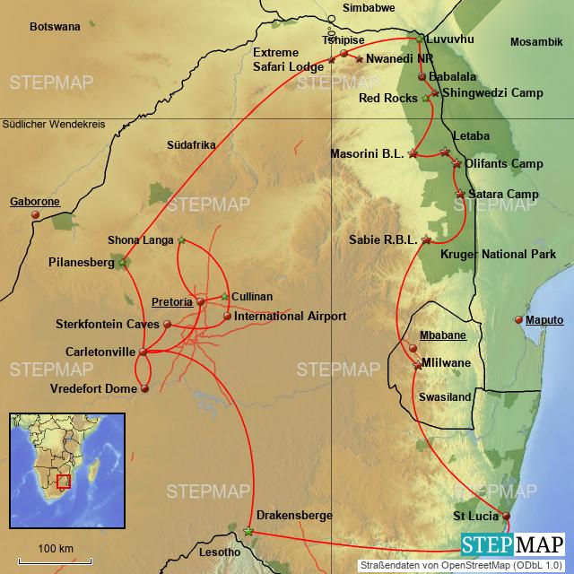 Südafrika Karte Sehenswürdigkeiten.Stepmap Rundreise Durch Südafrika Landkarte Für Südafrika