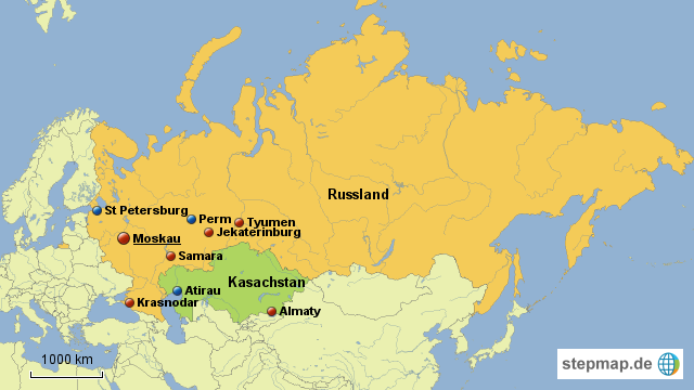 samara russland karte StepMap   Russland/Kasachstan   Landkarte für Welt samara russland karte