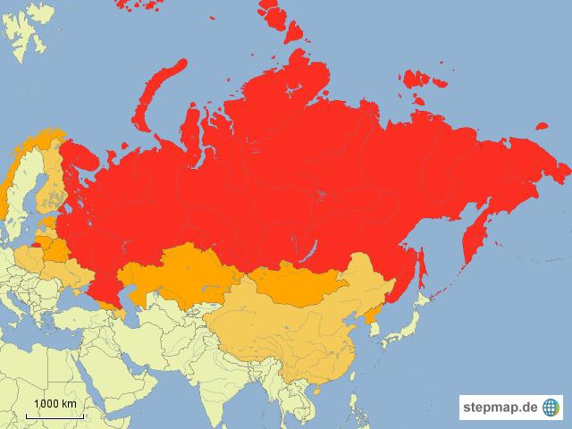 stepmap russland und seine nachbarstaaten landkarte. Black Bedroom Furniture Sets. Home Design Ideas