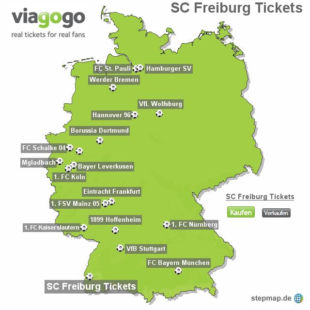 Sc Freiburg Karten.Stepmap Sc Freiburg Tickets Landkarte Für Deutschland