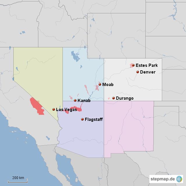 StepMap - SE USA - Landkarte für Nordamerika