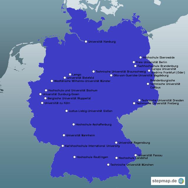 universitäten deutschland karte StepMap   SIFE Universitäten Deutschland   Landkarte für Deutschland universitäten deutschland karte