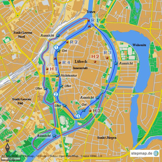 Karte Lübeck.Stepmap Sup Spot Lübeck Trave Landkarte Für Welt