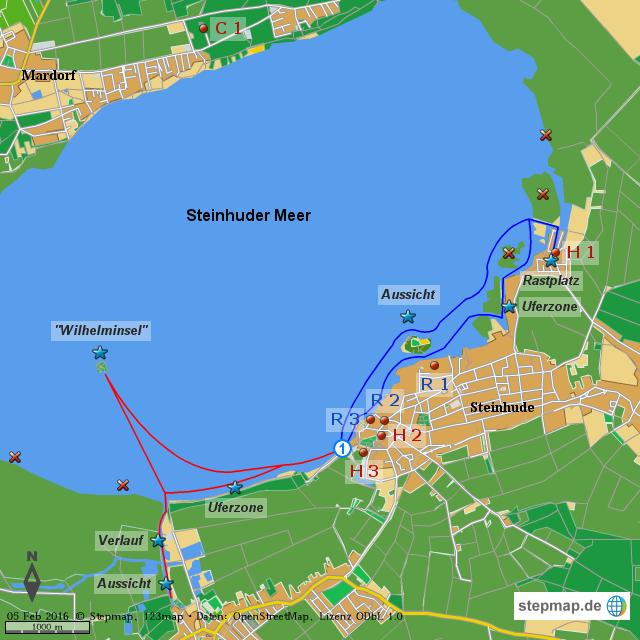 SUP-Spot Steinhuder Meer von DKV - Landkarte für die Welt