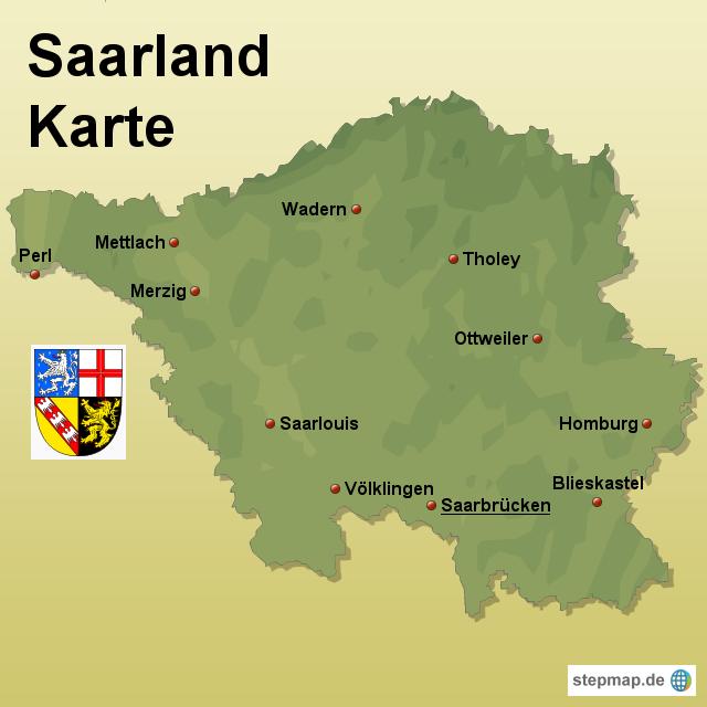 landkarte saarland StepMap   Saarland Karte   Landkarte für Deutschland landkarte saarland