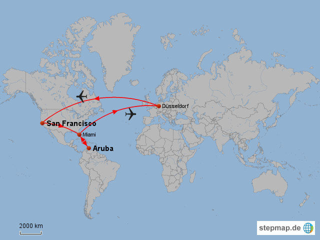 StepMap - San Francisco - Aruba - Landkarte für USA