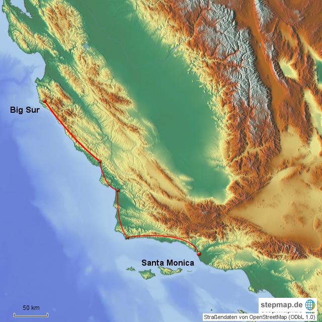 StepMap - Santa Monica - Big Sur - Landkarte für Deutschland
