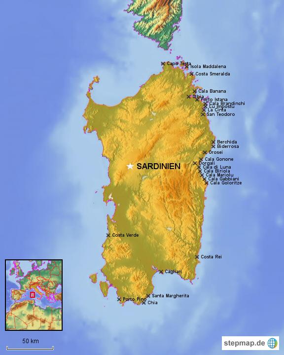 Karte Sardinien Strände.Stepmap Sardinien Landkarte Für Italien
