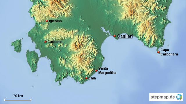Karte Sardinien Süden.Stepmap Sardiniens Süden Landkarte Für Italien