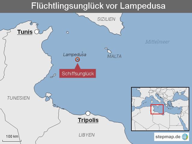 Italien Karte Lampedusa.Stepmap Schiffsungluck Vor Lampedusa Landkarte Fur Italien
