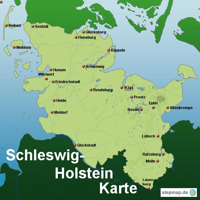 Schleswig Holstein Karte.Stepmap Schleswig Holstein Karte Landkarte Für Deutschland
